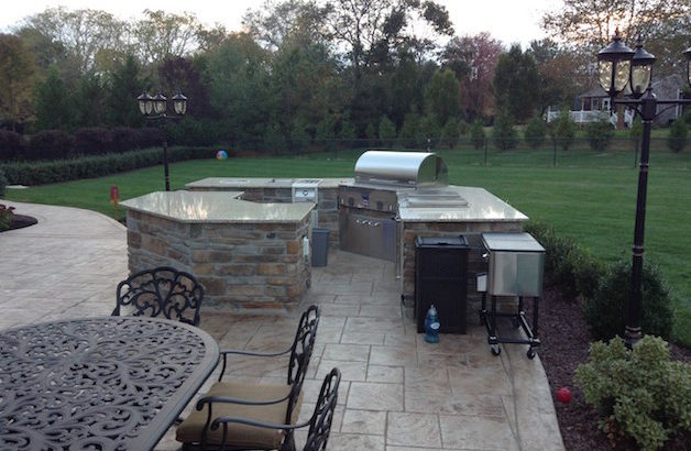 ... Stamped Concrete Patio With Outdoor Fireplace Freehold Nj ...