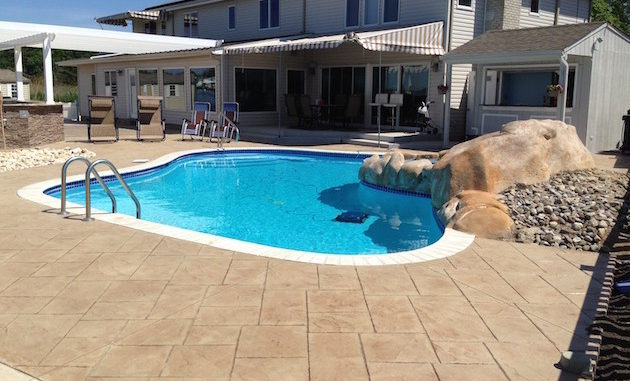 stamped concrete pool patio waterfall central new jersey